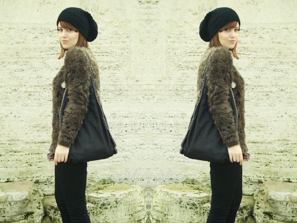 Outfit maglione pelliccia