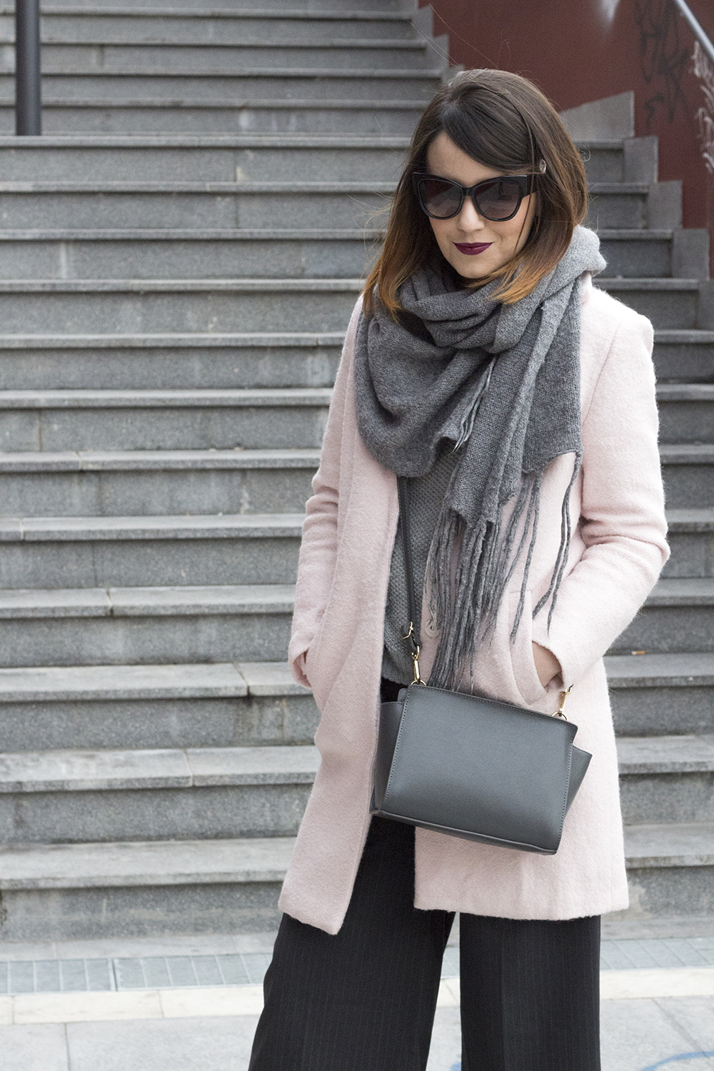 OUTFIT: PINK COAT & GREY DETAILS